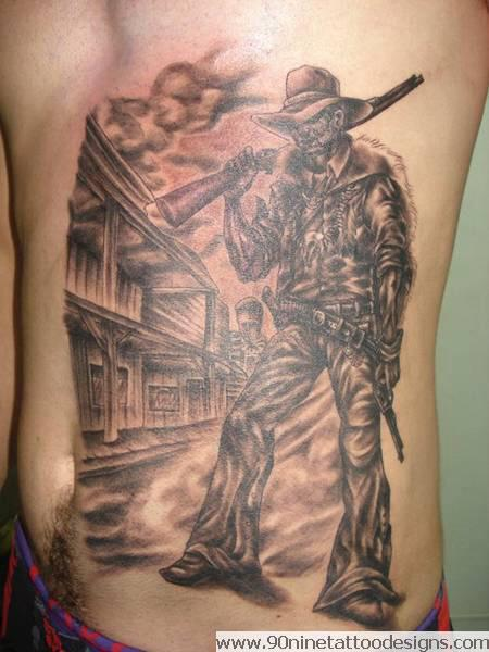 Gallery for cowboy outlaw tattoo for Cowboy silhouette tattoo