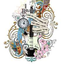 Relic guitar, with cover art and text