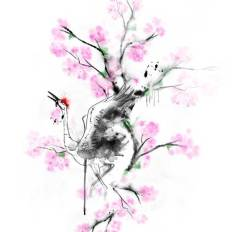 Japanese crane and cherry blossom tree