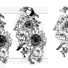 Bouquet of Sunflowers & Smaller flowers with birds