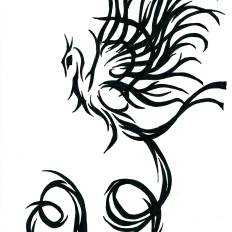 2 tribal phoenix, intertwined. back over shoulder and upper arm
